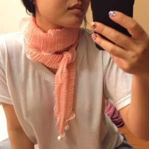 Accessories - Pleated scarf with faux pearl.